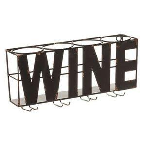 Metal Wine Bottle & Glass Wall Rack